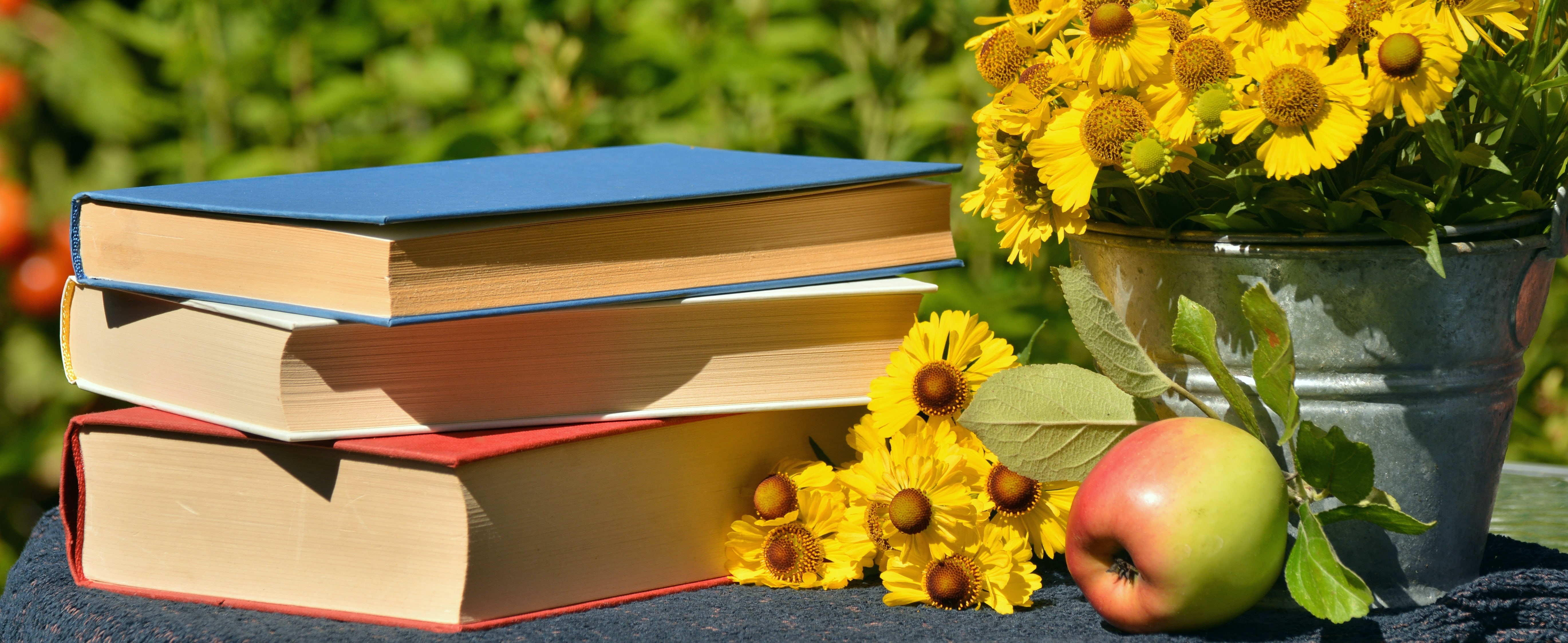 Books and sunflowers