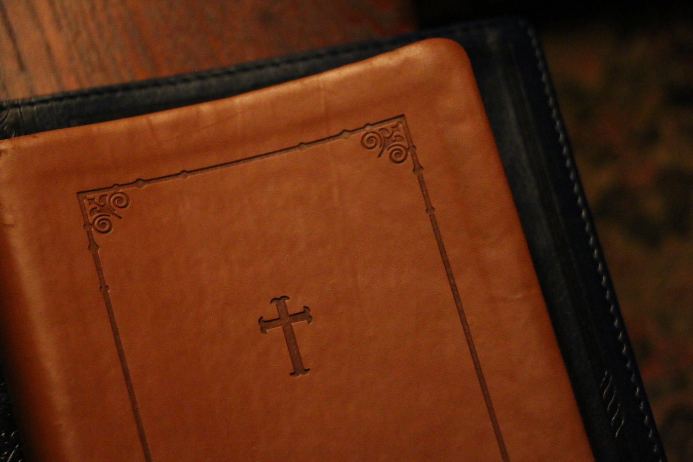 Leather Bible with Cross