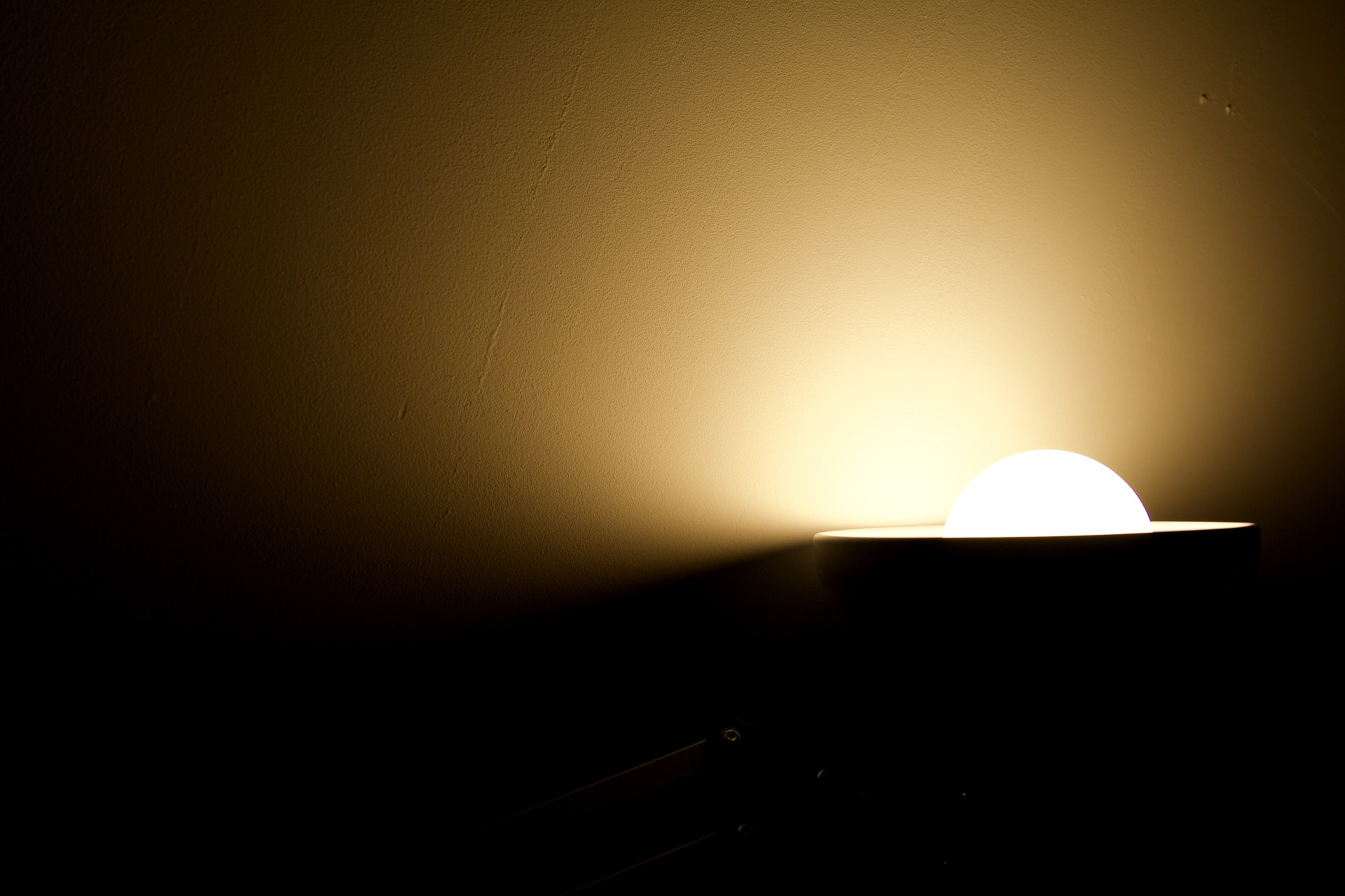 Lamp light lighting up a dark room